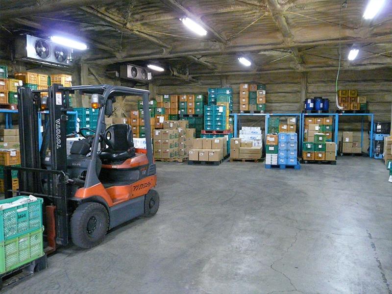 日常の出荷で使用する一時保管庫